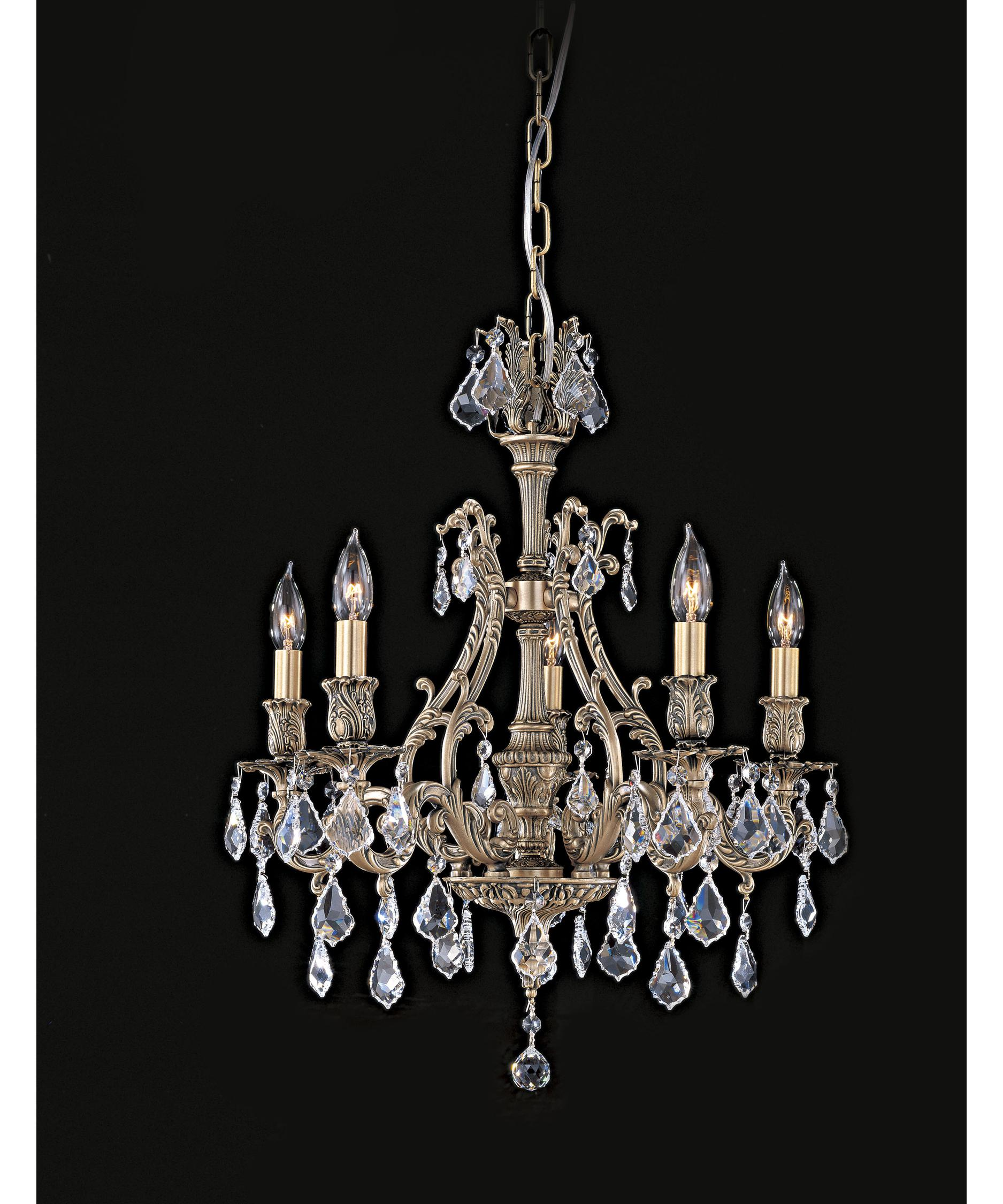 American Brass and Crystal Chateau 20 Inch Wide 5 Light Mini – American Brass and Crystal Chandeliers