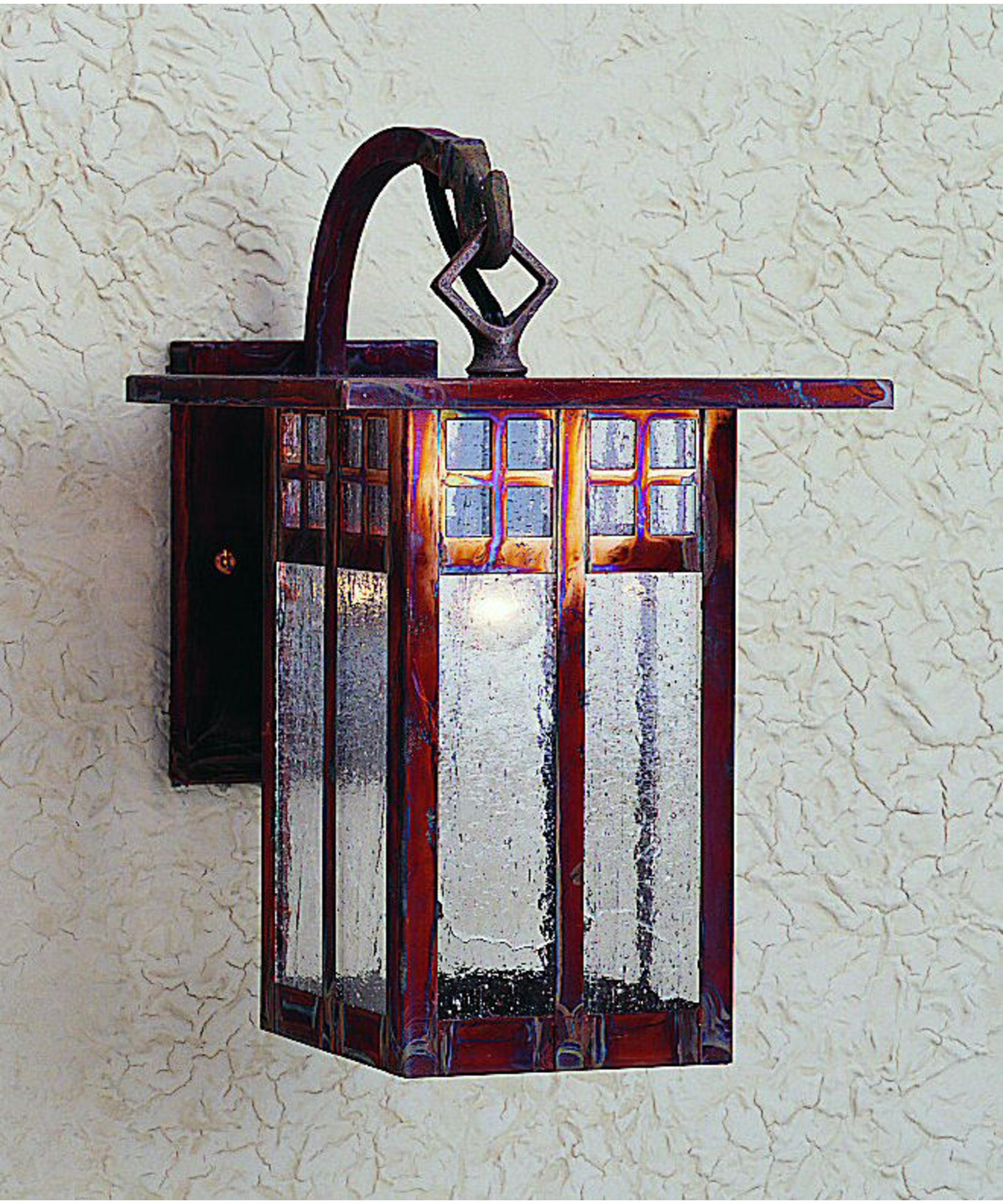shown in raw copper finish and clear seedy glass arroyo craftsman lighting