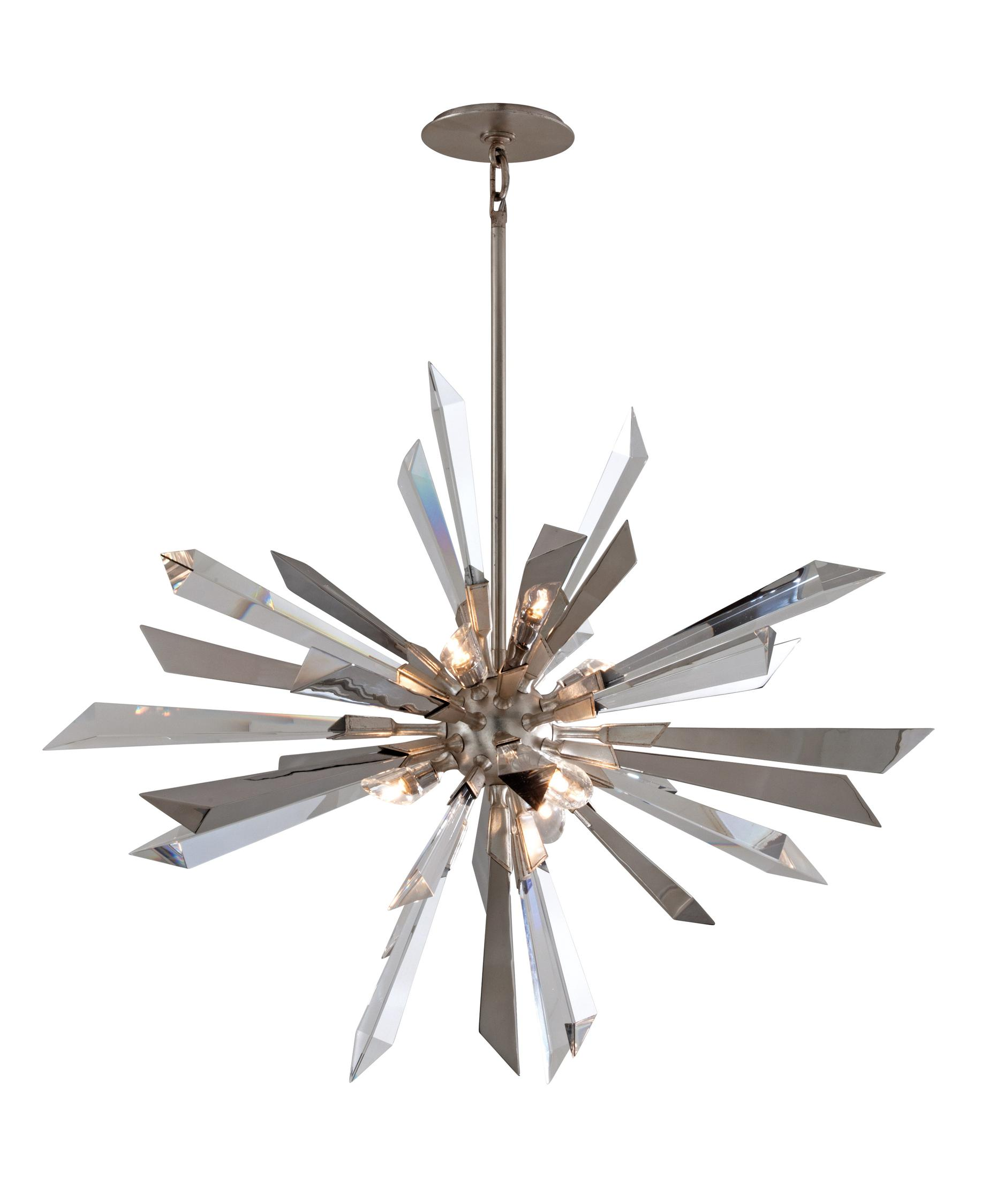 In wide x 47 6 in - Shown In Silver Leaf Finish And Crystal Polished Staineless Prisms Crystal