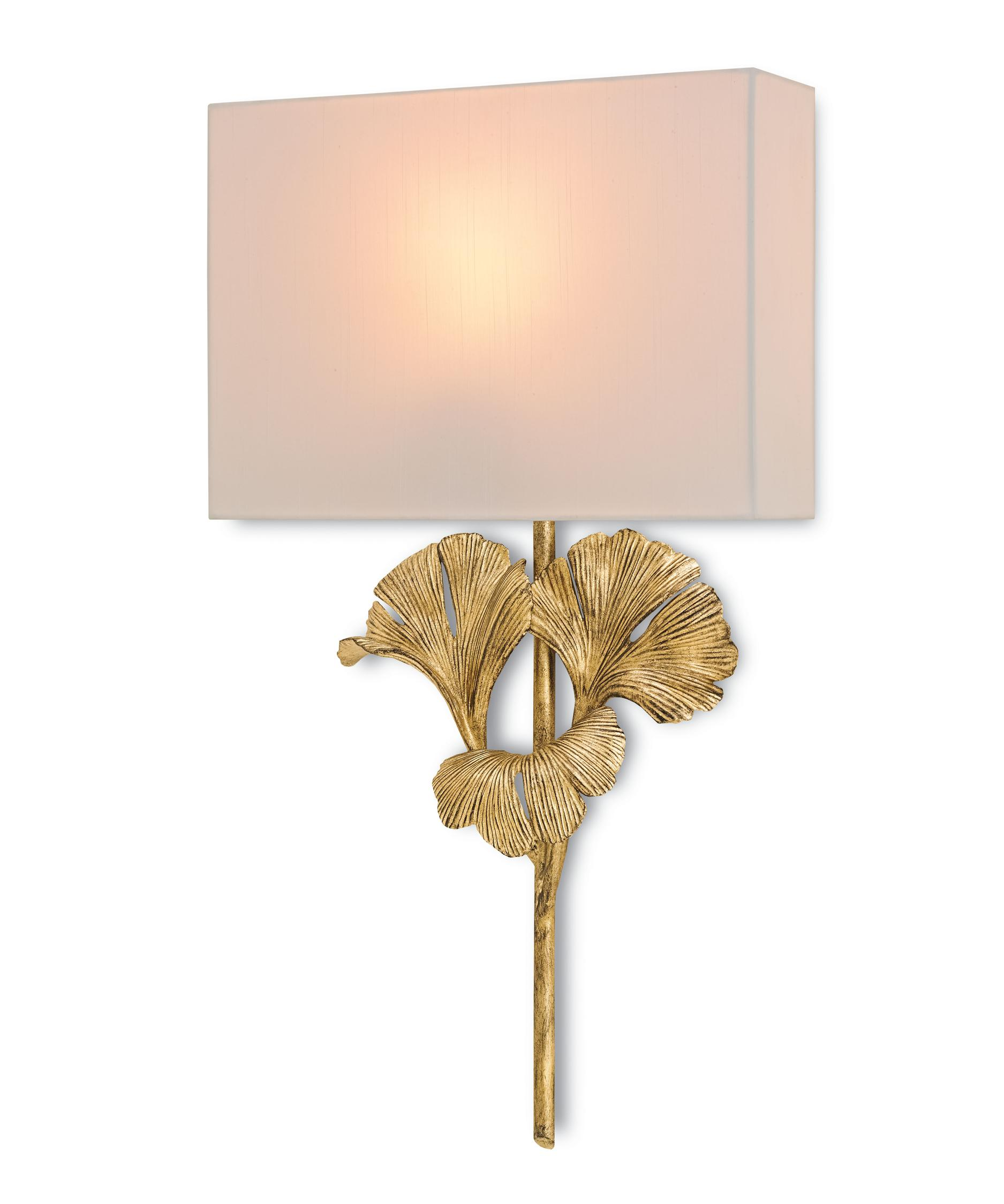 Shown in Chinois Antique Gold Leaf finish and Off White Shantung shade