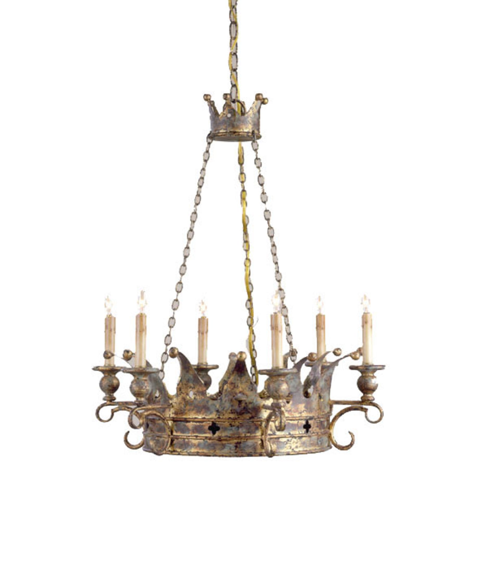 Currey and Company Crown 24 Inch Wide 6 Light Chandelier – Currey and Company Lighting Chandeliers