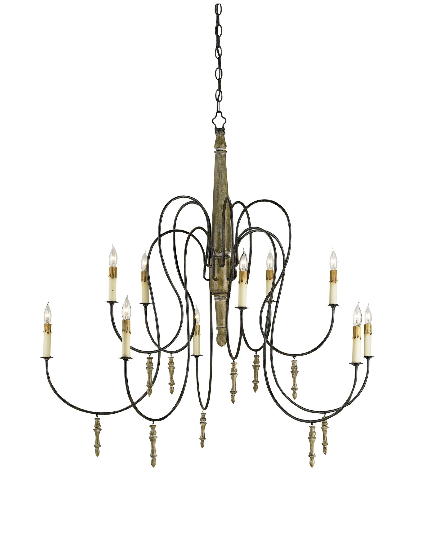 Currey and Company Rouleau 39 Inch Wide 1 Light Chandelier – Currey and Company Lighting Chandeliers