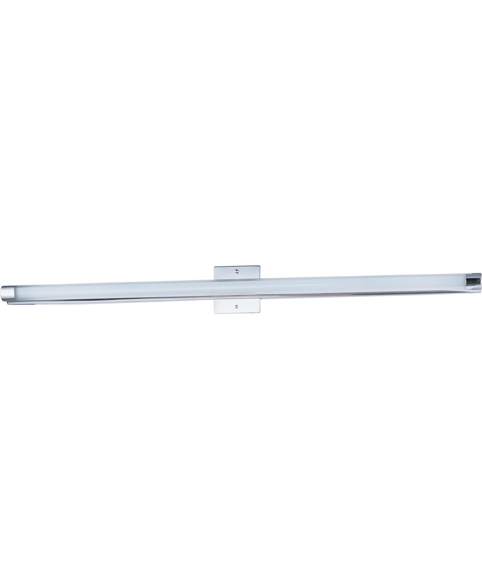 et lighting e wand led  inch wide bath vanity light  - shown in polished chrome finish and clear white glass