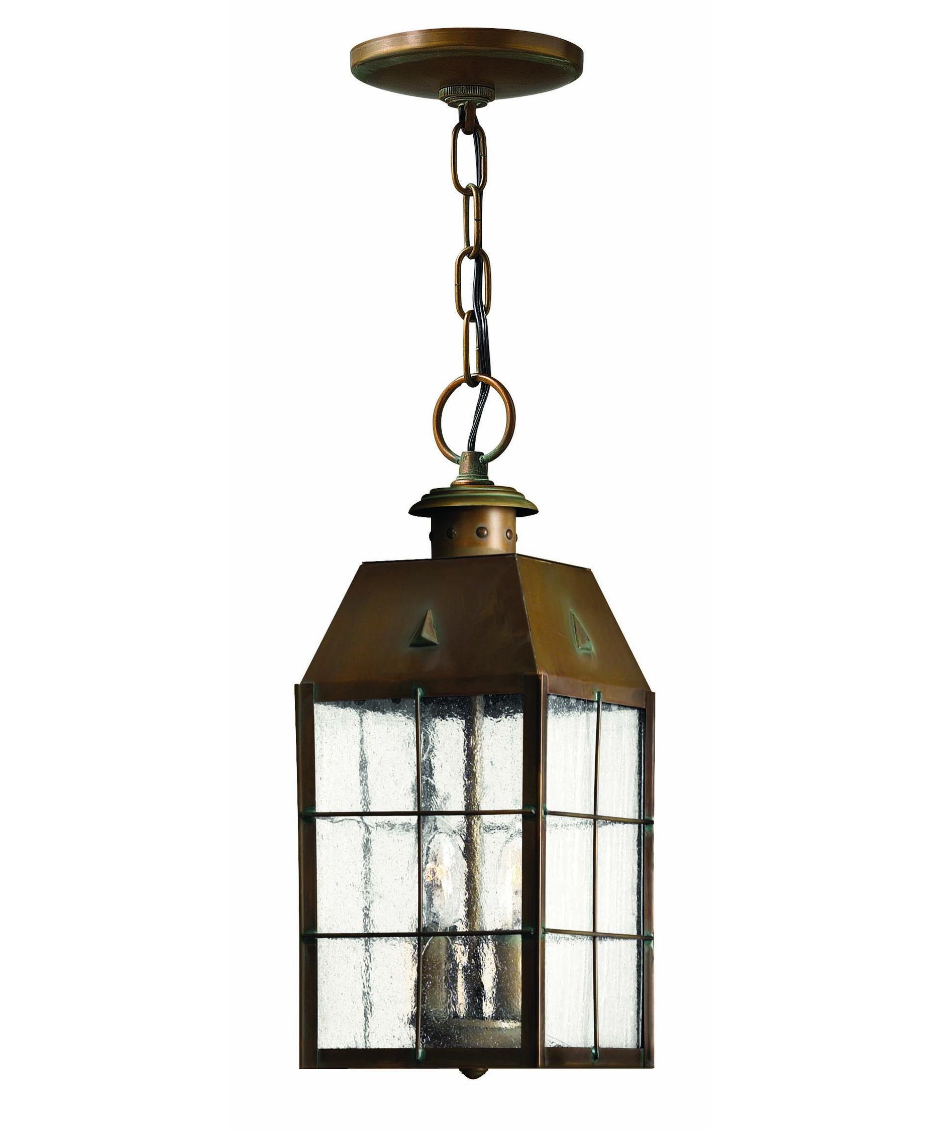 Outdoor hanging lighting - Shown In Aged Brass Finish And Clear Seedy Glass