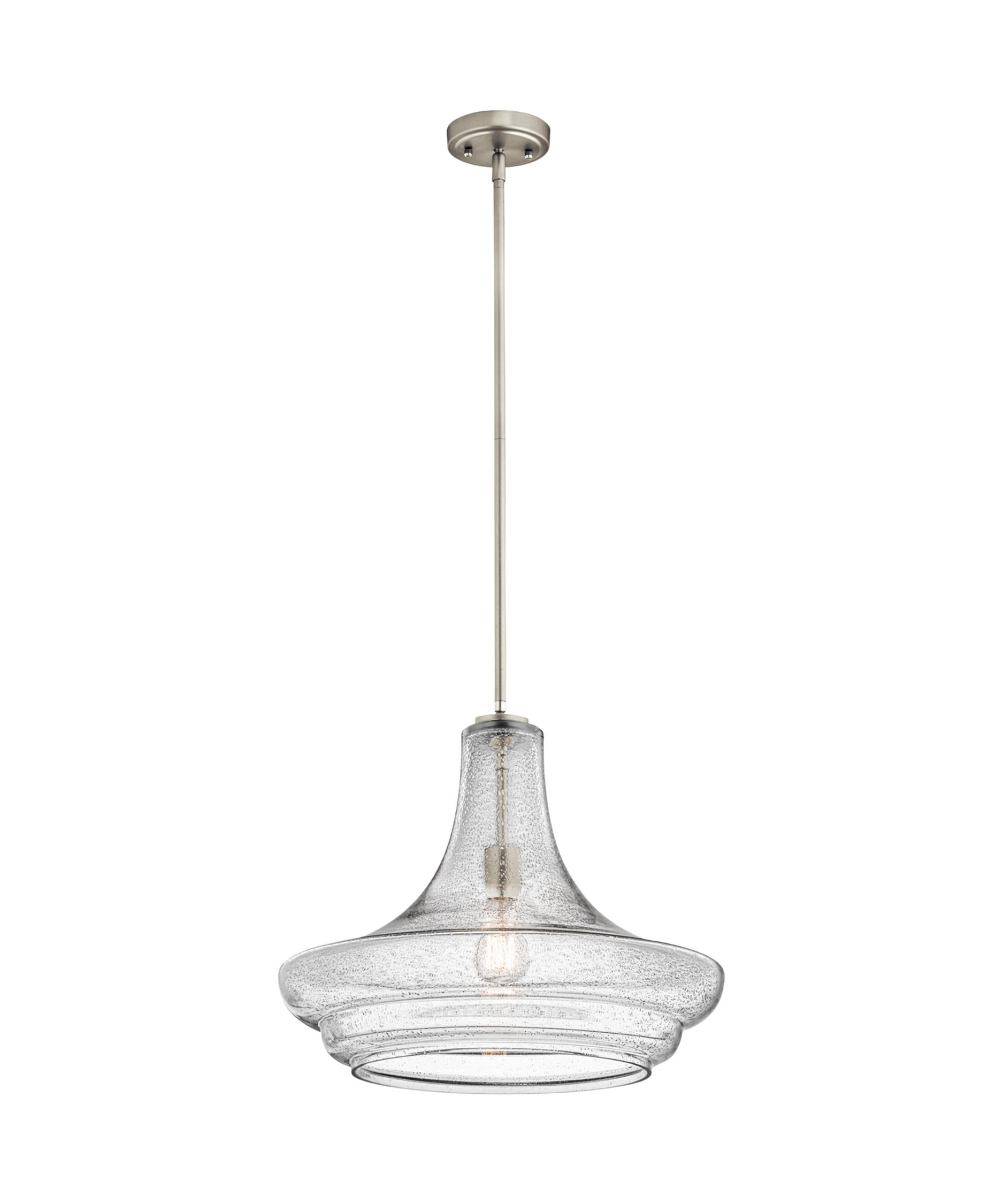 Kichler lighting 42548clp triad 3 light linear pendant classic pewter - Shown In Brushed Nickel Finish And Clear Seedy Glass Kichler Lighting