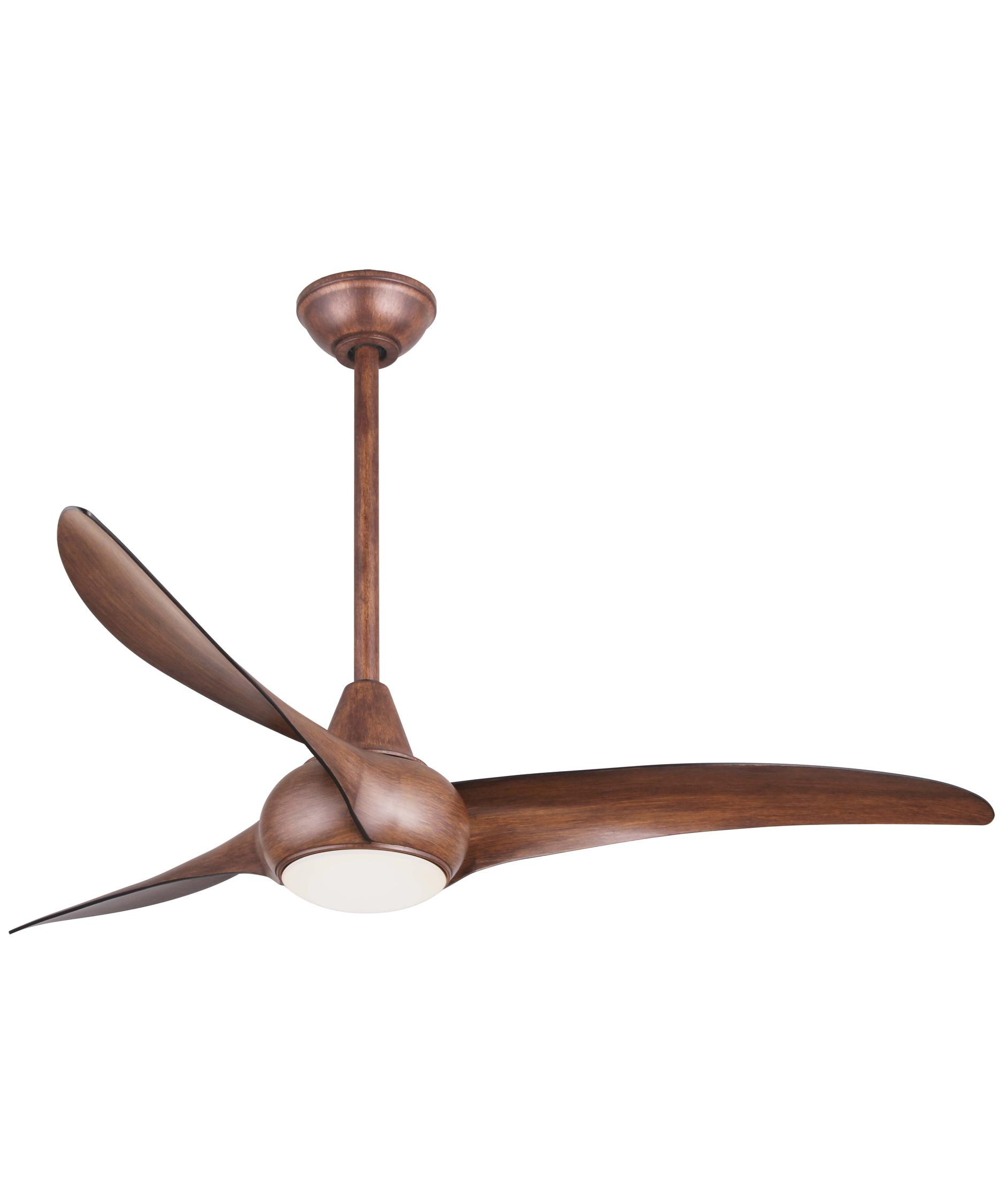 minka aire f light wave  inch  blade ceiling fan  capitol  - shown in distressed koa finish and etched lens glass