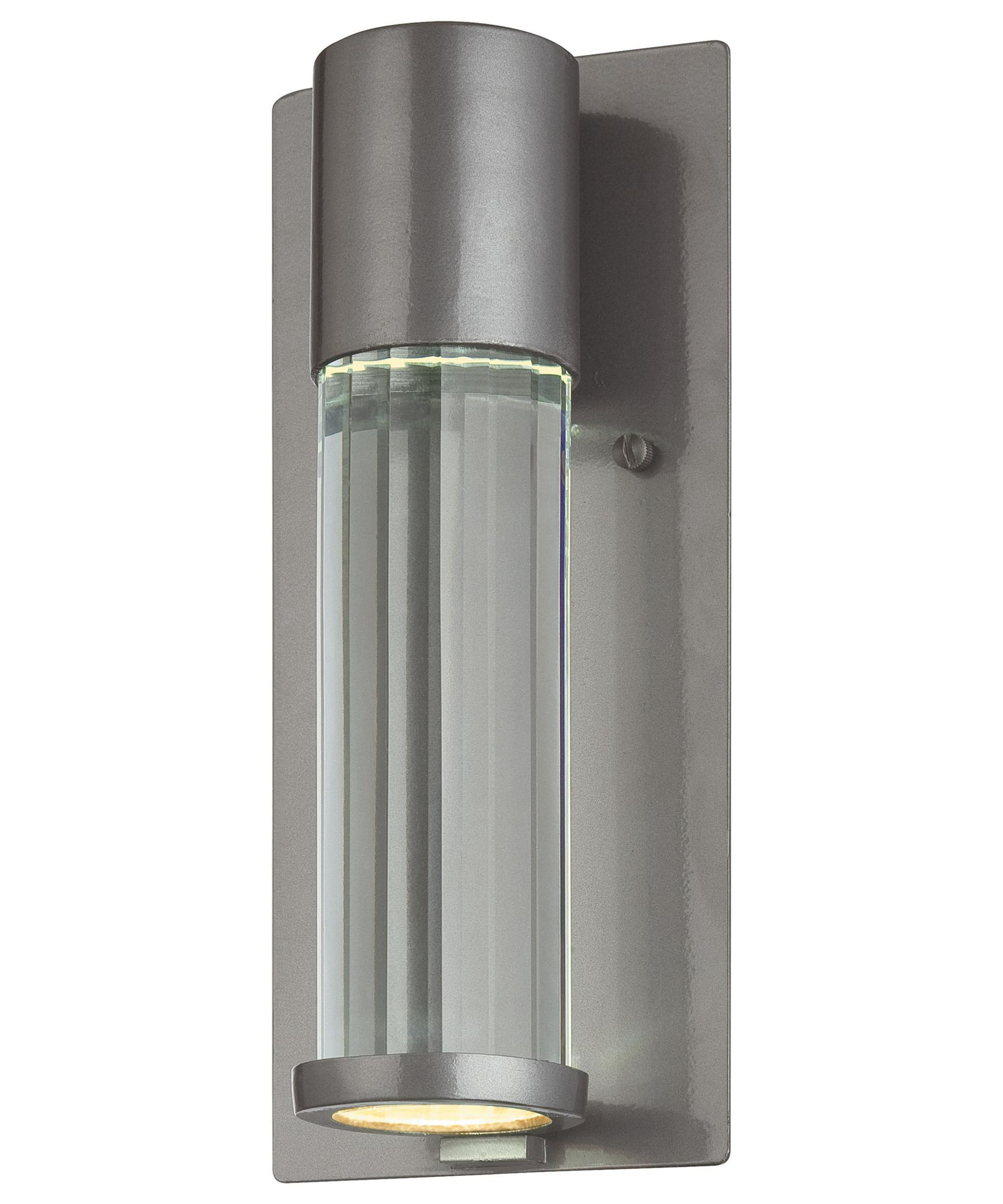 minka lavery  soare  inch wide  light outdoor wall light  - shown in tinted silver finish and faceted eidolon krystal glass