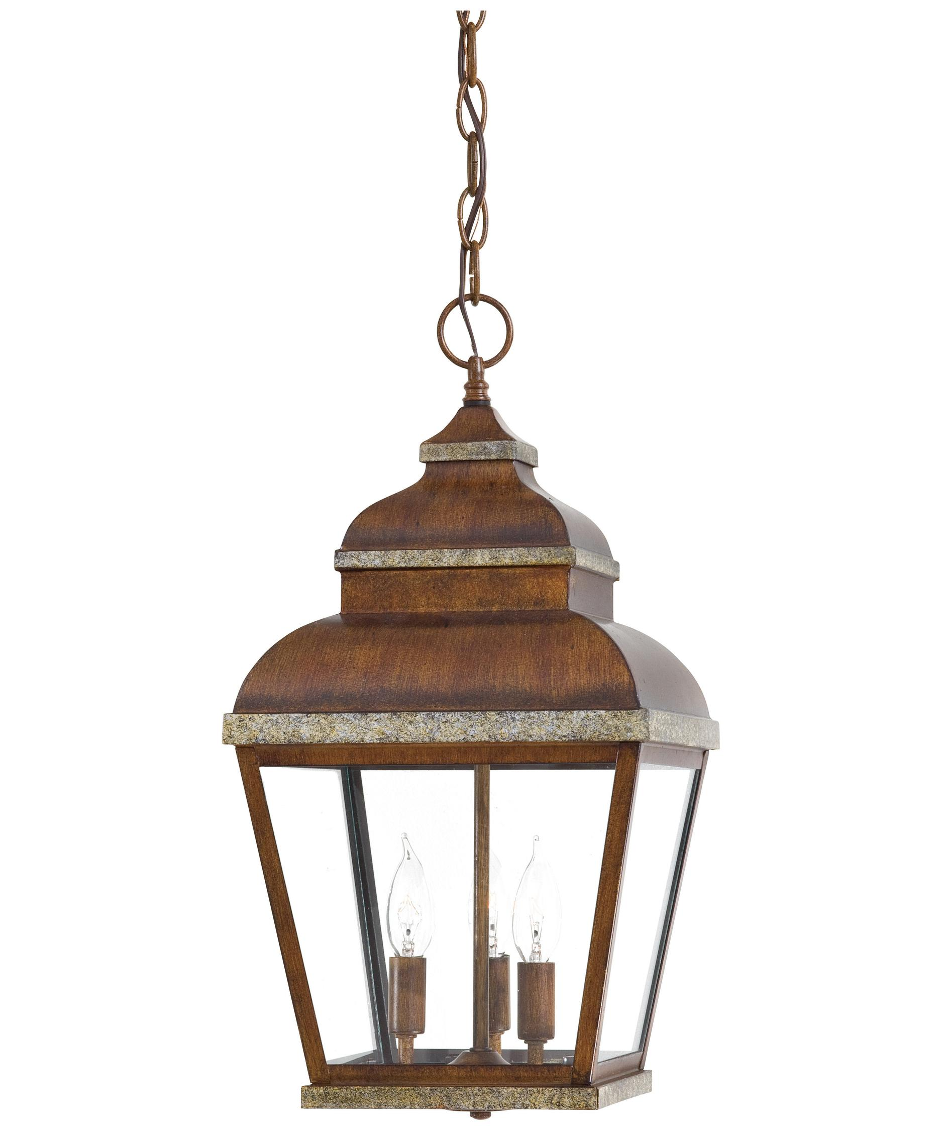 Outdoor hanging lamp - Shown In Mossoro Walnut Wsilver Finish And Clear Glass