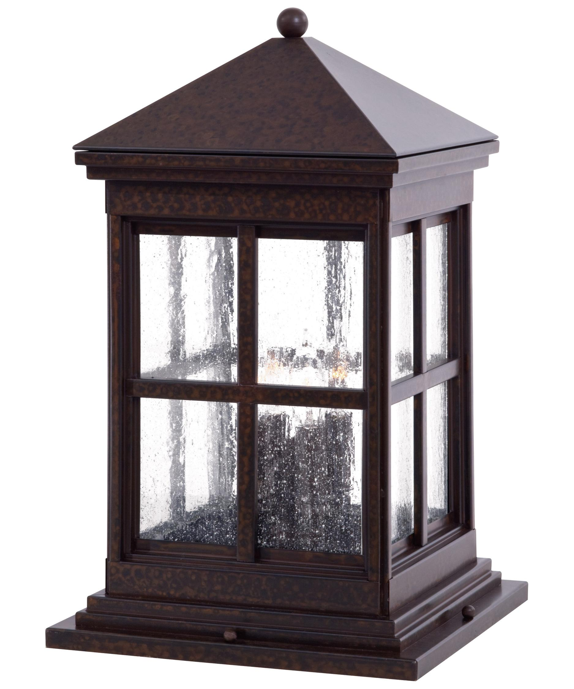 Shown in Rust finish and Clear Seeded glassMinka Lavery 8567 Berkeley 4 Light Outdoor Pier Lamp   Capitol  . Outdoor Post Mount Lighting Fixtures. Home Design Ideas
