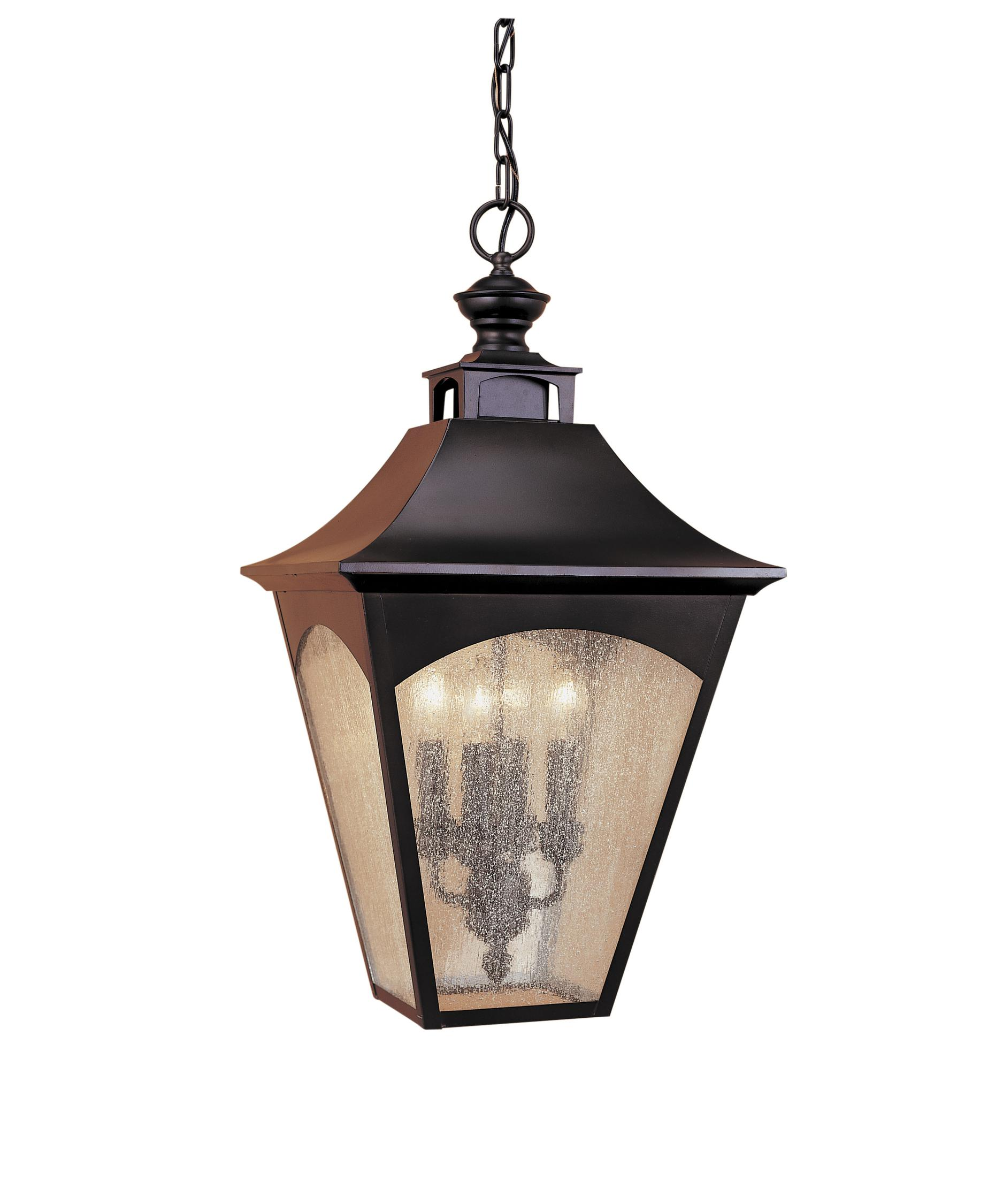 Outdoor hanging lighting - Shown In Oil Rubbed Bronze Finish And Seeded Glass