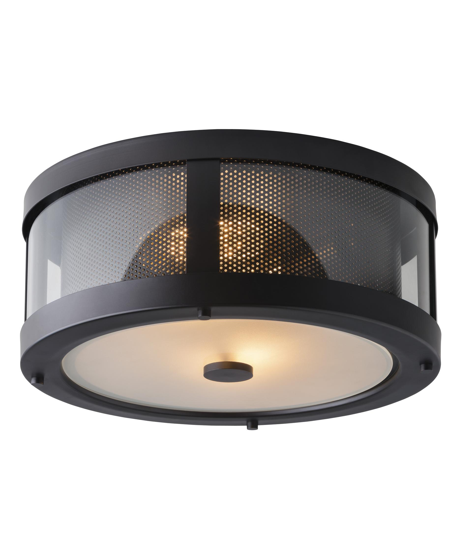 Flush mount outdoor lighting - Shown In Oil Rubbed Bronze Finish And Clear Glass