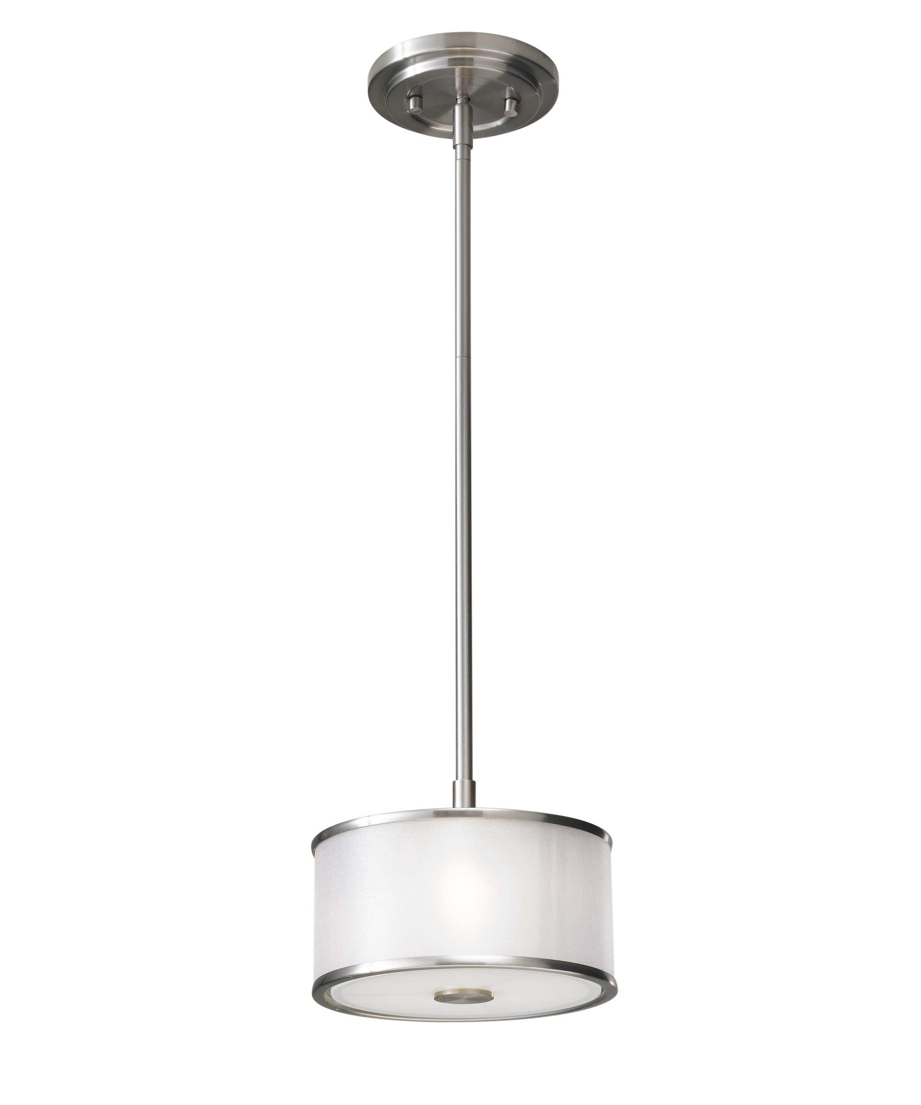 shown in brushed steel finish and silver organza shade - Feiss Lighting