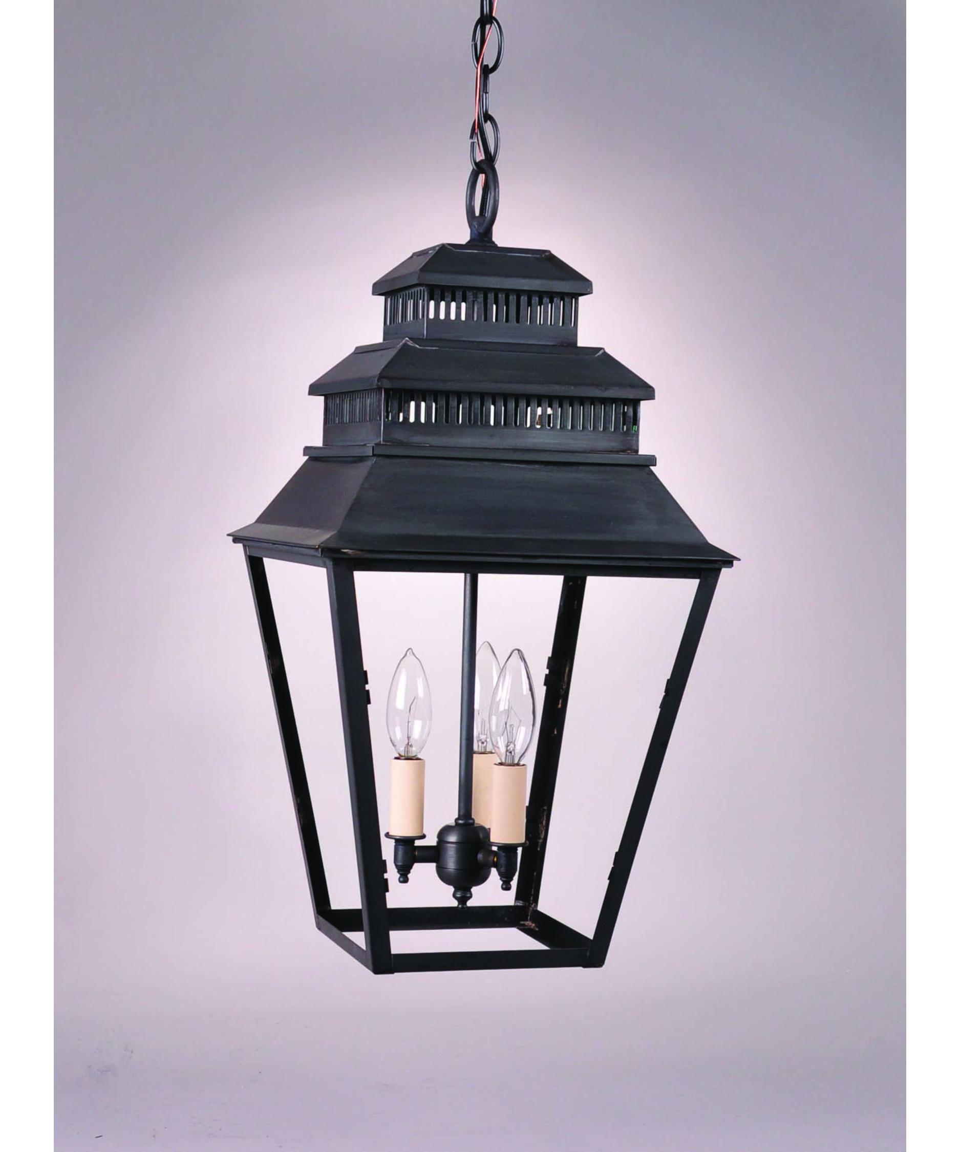 Outdoor hanging lamp - Shown In Antique Brass Finish And Clear Glass