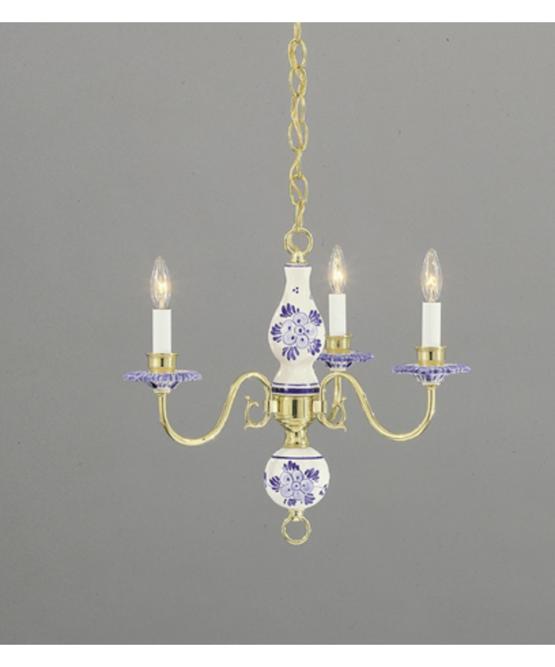 nulco lighting  delft  inch wide  light mini chandelier  - shown in polished brass finish with blue delft
