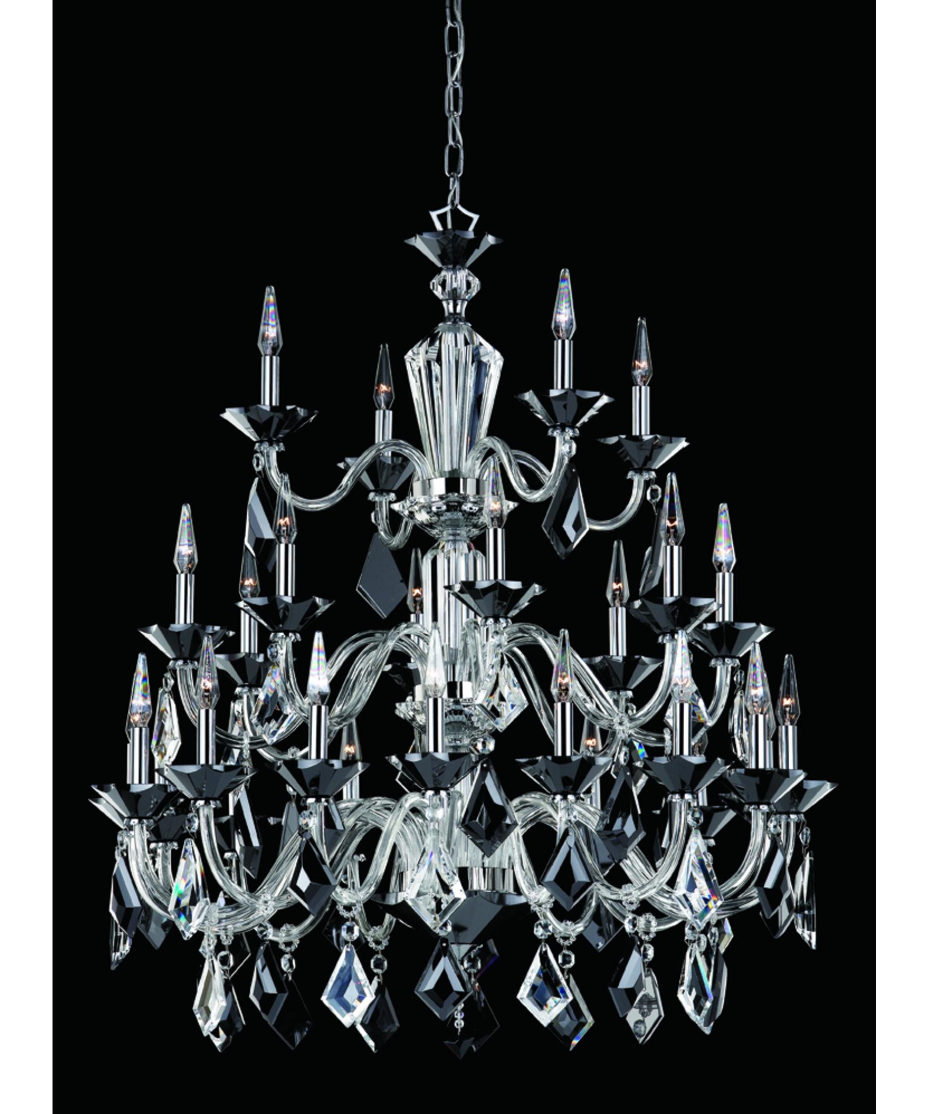 nulco lighting  diamond  inch wide  light chandelier  - shown in chrome finish with black and clear crystals
