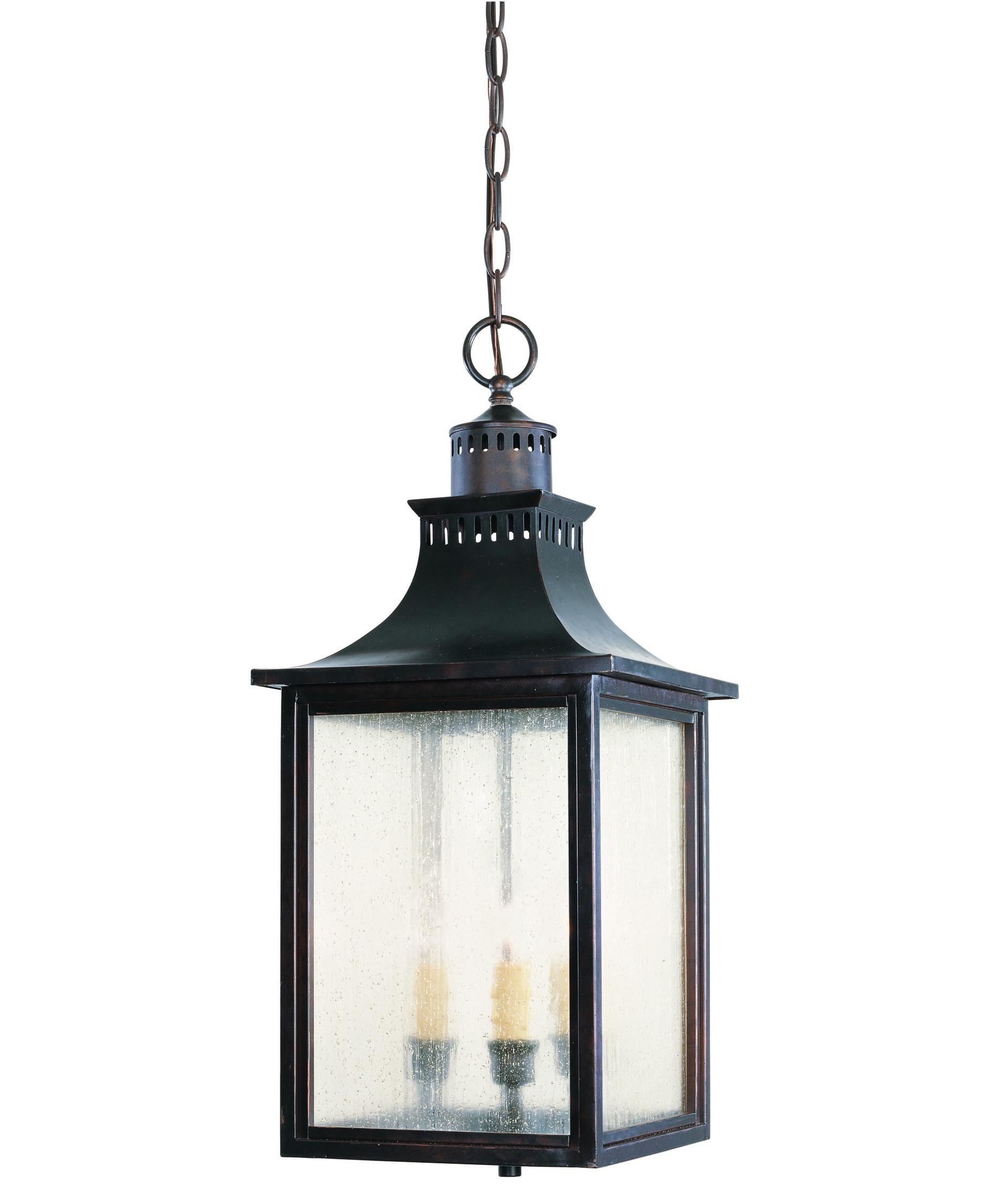 Outdoor Hanging Lighting - Shown in english bronze finish and pale cream seeded glass