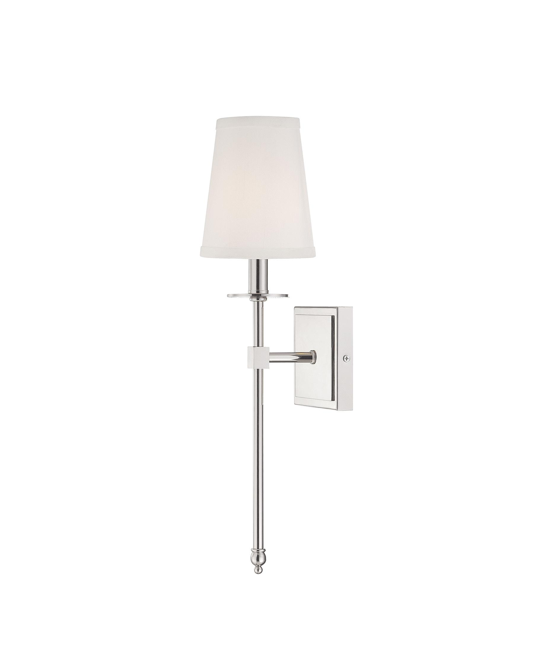 shown in polished nickel finish and soft white fabric shade - Savoy Lighting