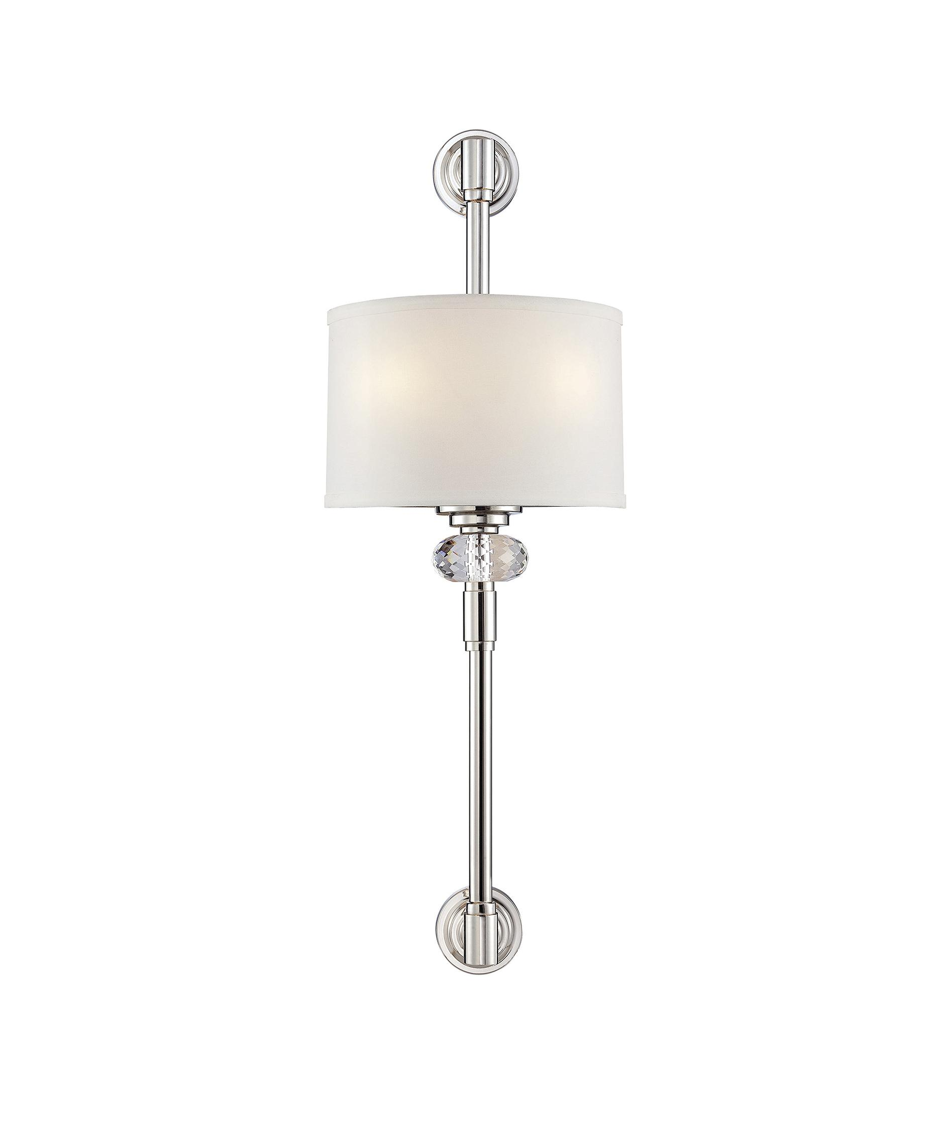 shown in polished nickel finish k9 crystal and white dupioni shade - Savoy Lighting