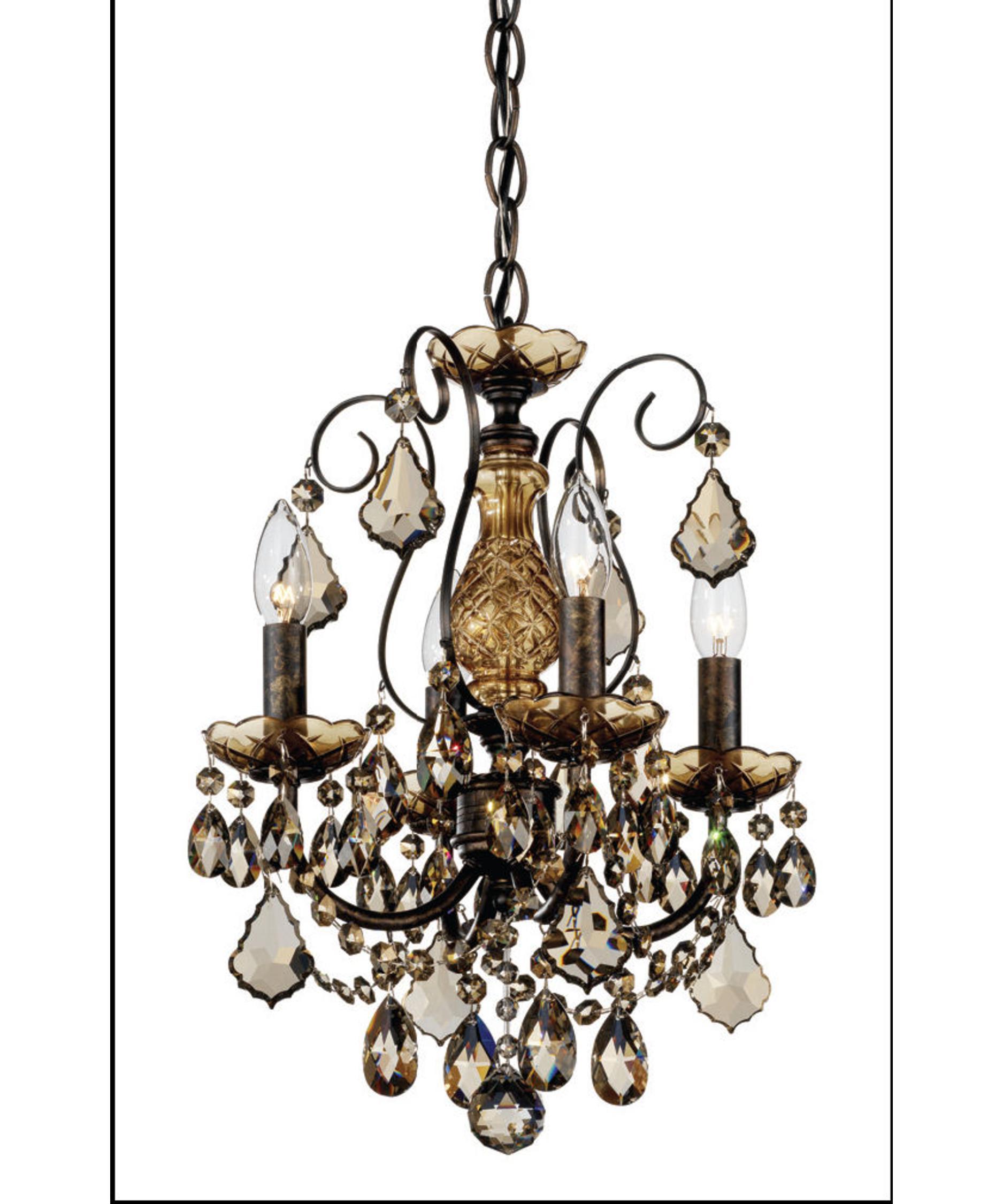 shown in heirloom bronze finish and golden teak swarovski elements crystal - Schonbek Chandelier