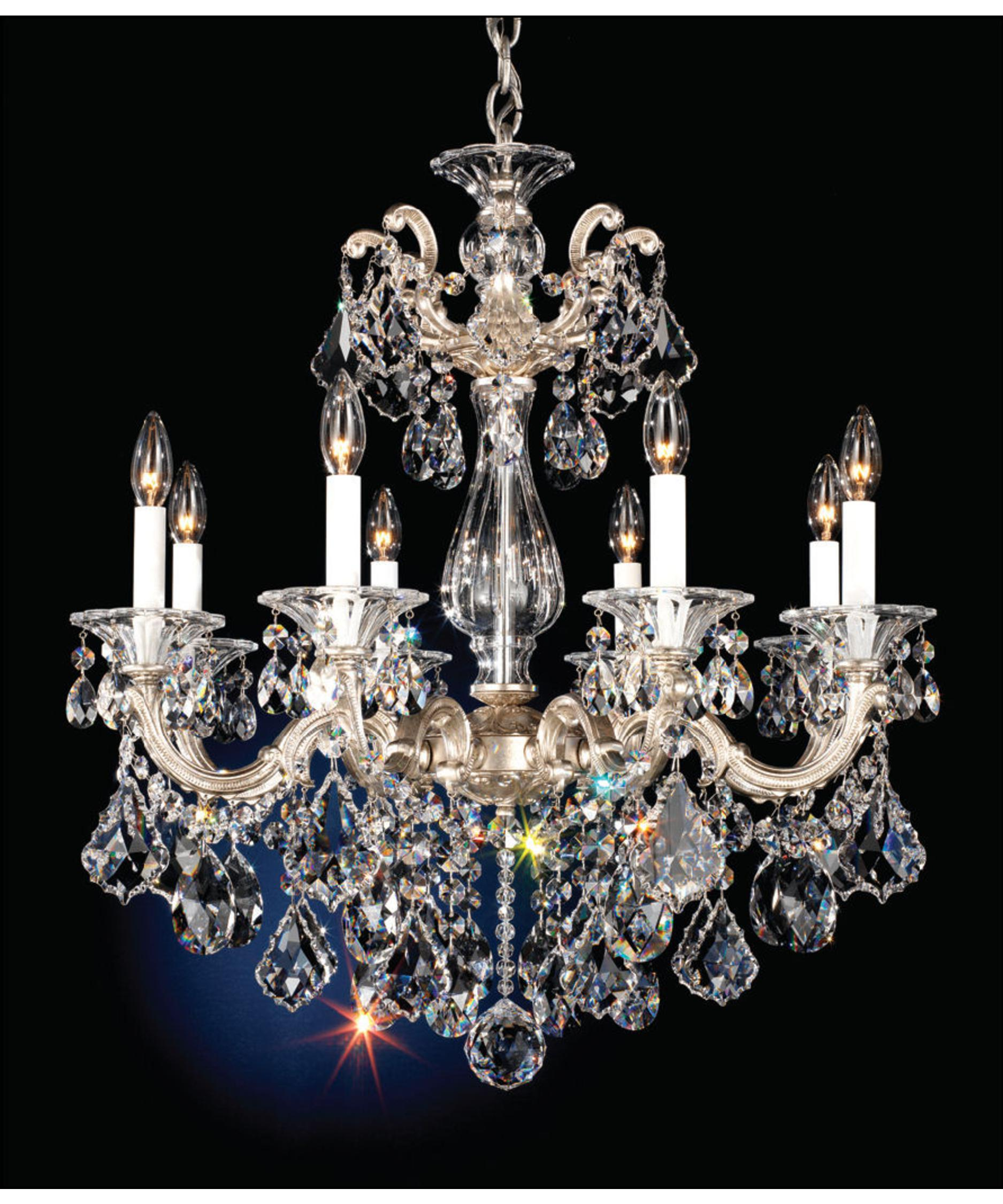 shown in antique silver finish with clear swarovski spectra crystal - Schonbek Lighting