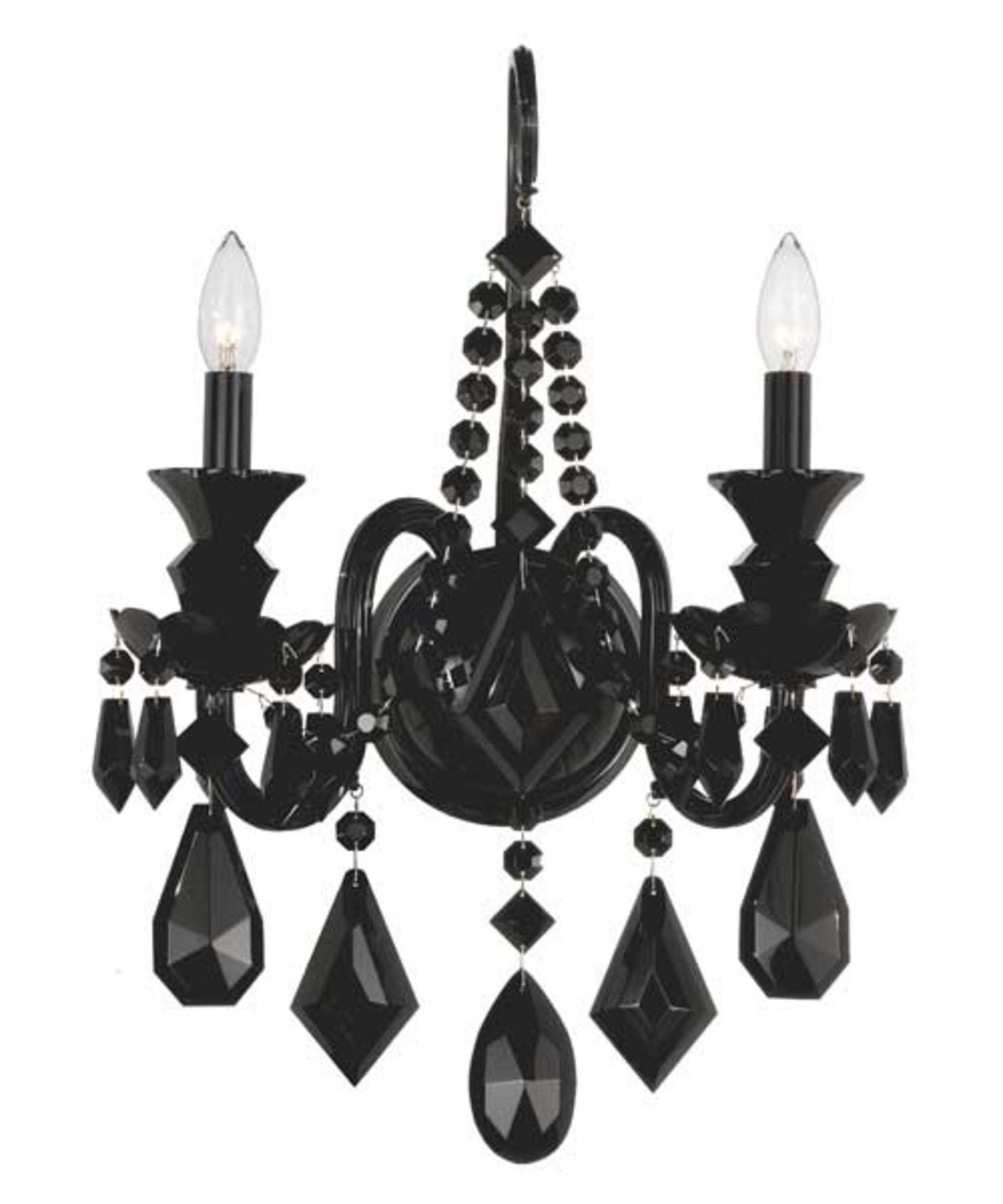 schonbek 5702bk hamilton black 15 inch wide wall sconce capitol lighting - Schonbek Lighting