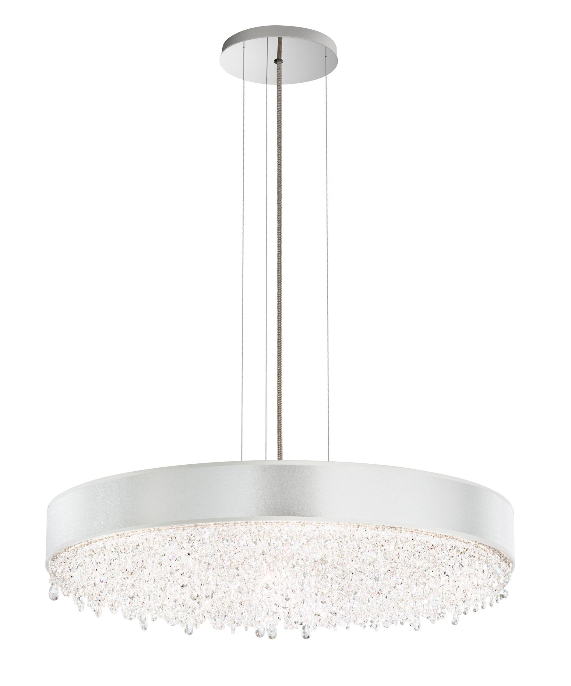 shown in stainless steel finish clear swarovski spectra crystal and silver shade - Schonbek