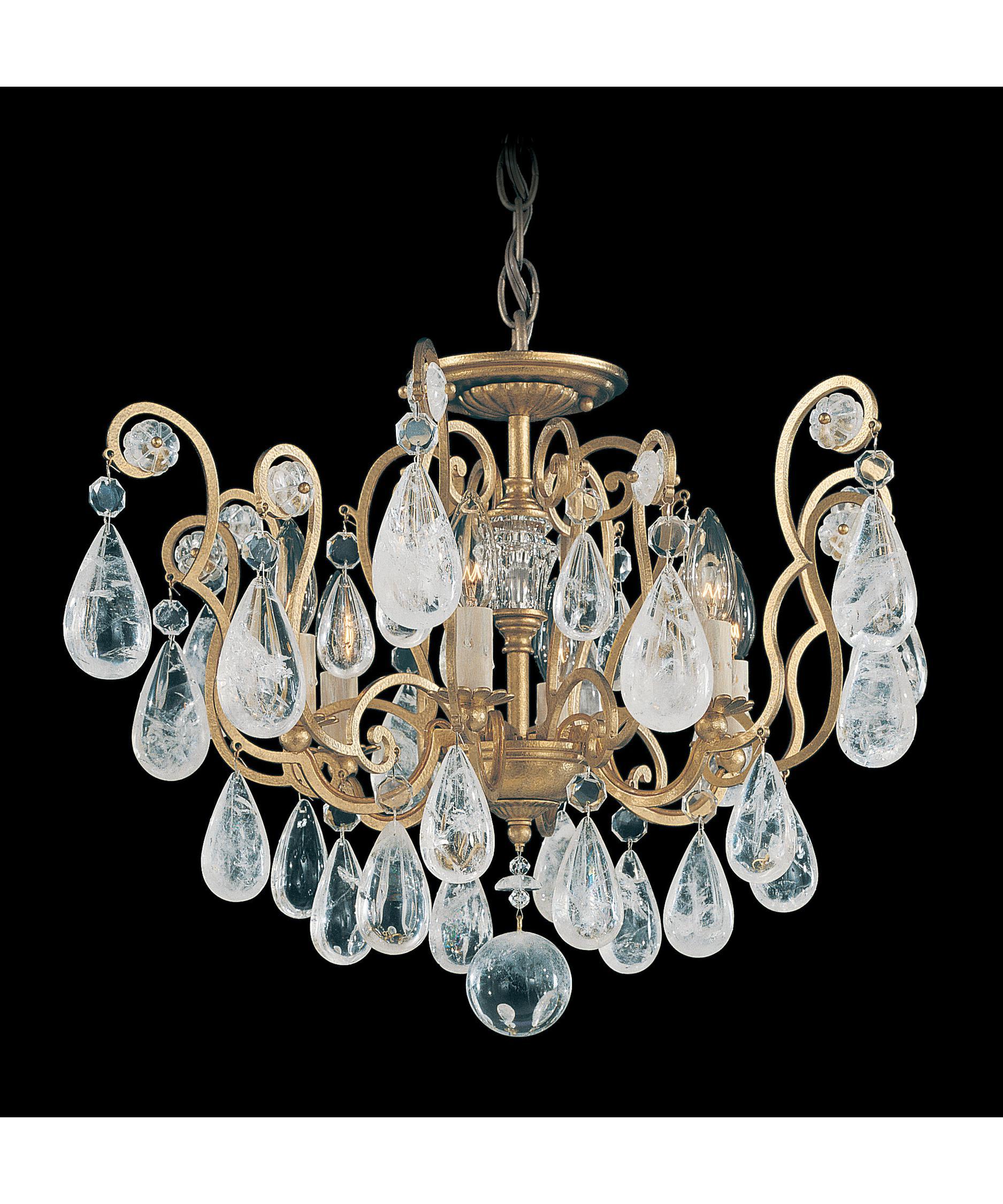 Crystal Semi Flush Mount Lighting: Shown in Heirloom Gold finish and Rock crystal,Lighting