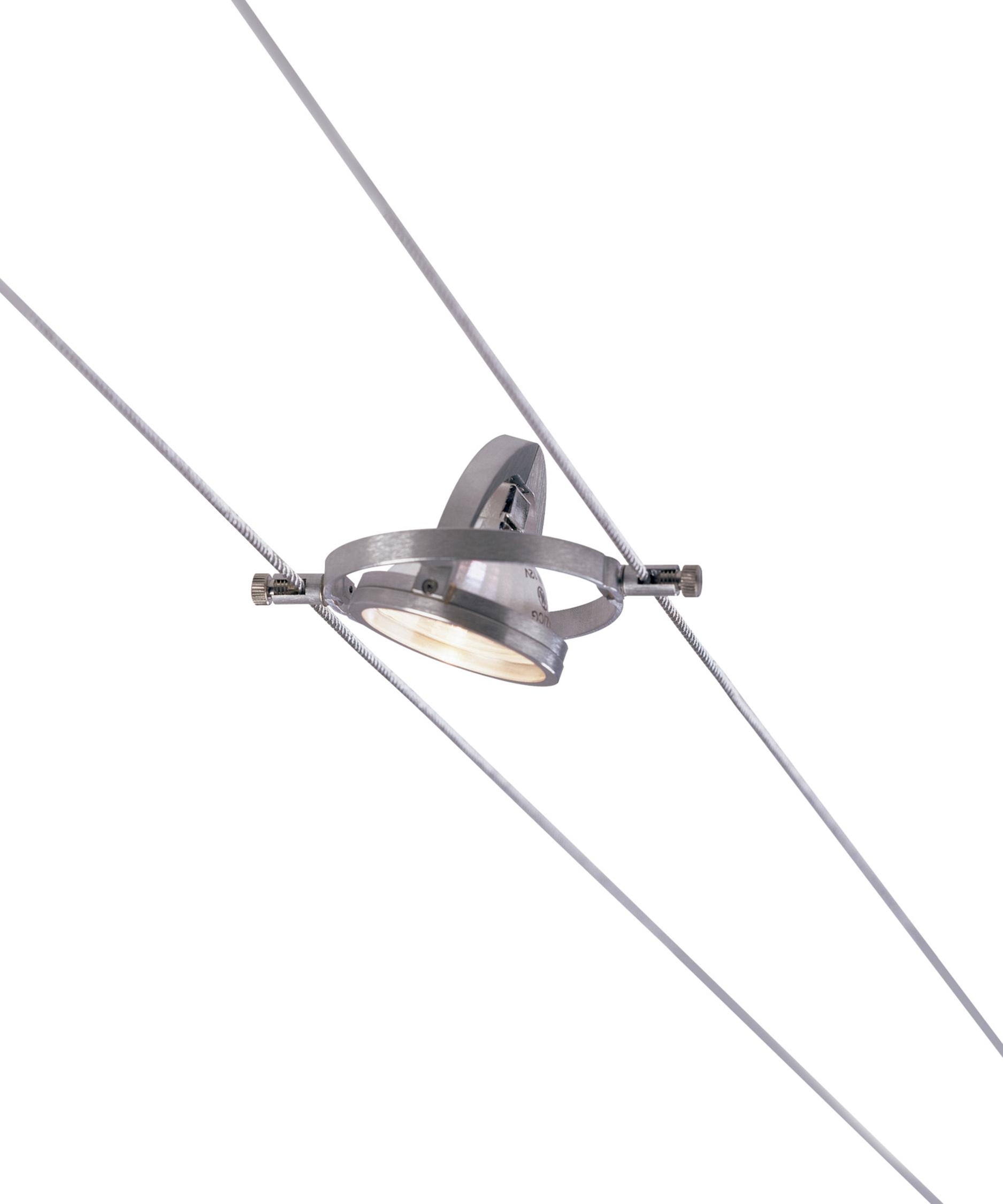 shown in satin aluminum finish cable lighting fixtures