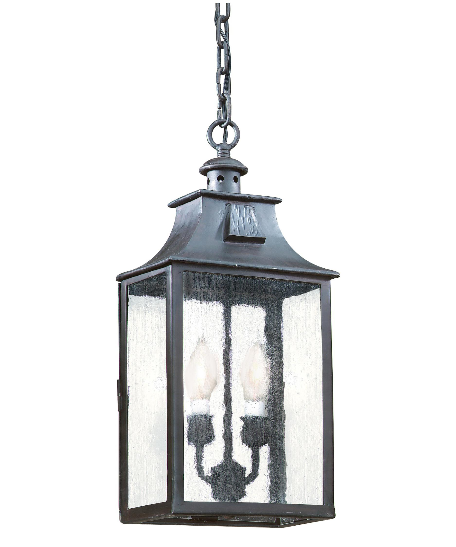 Outdoor hanging lamp - Shown In Old Bronze Finish And Clear Seeded Glass