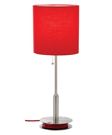 Shown in Satin Steel finish and Red shade