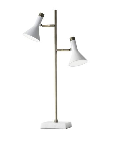 Shown in White-Antique Brass finish and White glass