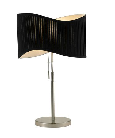 Shown in Satin Steel finish and Black Pleated shade