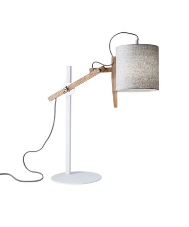 Shown in White And Natural Ash Wood finish and Grey Felt Fabric shade