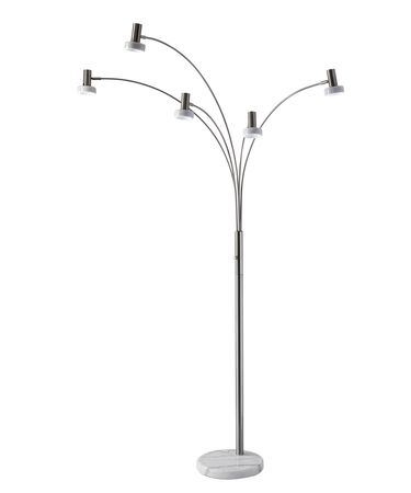 Shown in Brushed Steel finish and White Marble shade