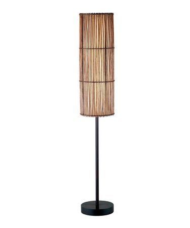 Shown in Antique Bronze finish and Cane Stick-Lined with Fabric shade