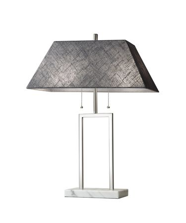Shown in Brushed Steel finish and Dark Grey Textured Fabric shade