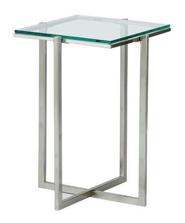 Shown in Satin Steel finish and Tempered Clear glass