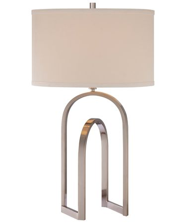 Shown in Brushed Nickel finish and Ivory Linen shade