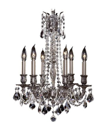 Shown in Antique Silver finish, Clear Precision Pendalogue crystal and Matching Brass Candle Cover accent