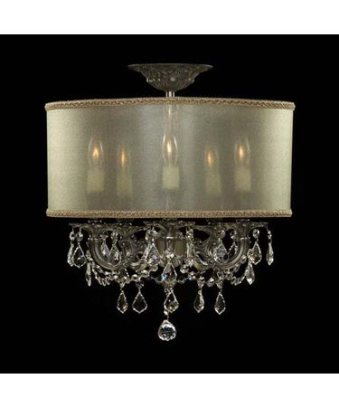 Shown in Antique Silver finish with Clear Precision Pendalogue crystal and Crystal Frost shade