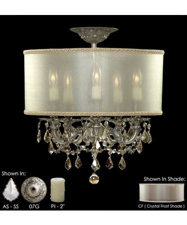 Shown in Satin Nickel finish with Silver Shade Strass Pendalogue crystal, Crystal Frost shade and Pale Ivory Wax Candle Cover