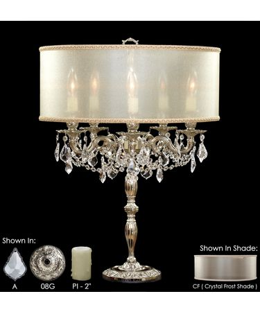 Shown in Silver finish with Clear Precision Pendalogue crystal, Crystal Frost shade and Pale Ivory Wax Candle Cover