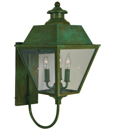 Shown in Verdigris Patina finish and Clear glass