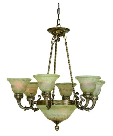 Shown in Antique Brass finish and Iltalian Light Cream glass