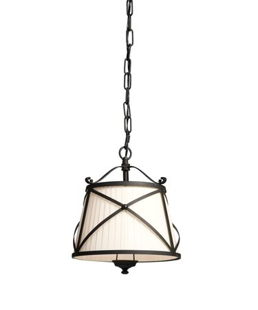 Shown in Black Iron Work finish and Pleated Off White shade
