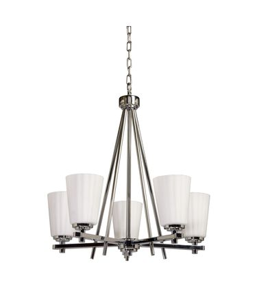 Shown in Chrome finish and Satin Acid Frosted Reeded glass