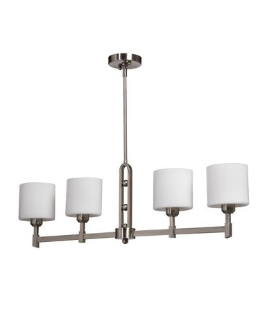 Shown in Brushed Nickel finish and Oval - Opal and Ribbed glass