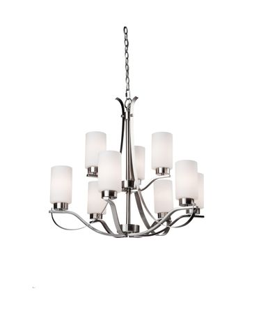 Shown in Polished Nickel finish, Opal White glass and Oatmeal Linen shade