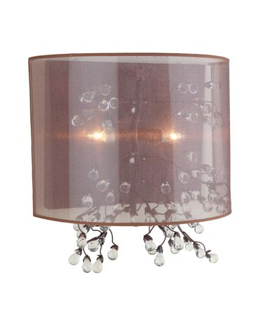 Shown in Oil Rubbed Bronze finish and Soft White Silk Ribboned shade