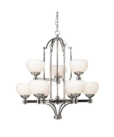 Shown in Chrome finish and Opaline glass
